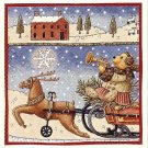 TEDDY BEAR ON A SLEIGH RIDE - 8 Stickers