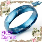 Anywords Men Women BLUE Wedding Anniversary Bands Dome Titanium Ring