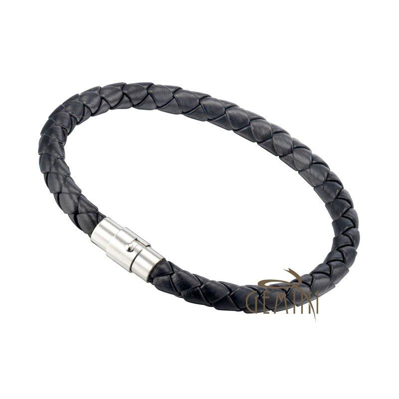 US Men Women GENUINE LEATHER Black Brown Braided Wristband Bracelets GM001