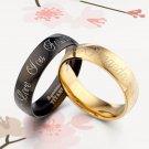 Anyword 18K Gold Match Black Dome Groom&Bride Wedding Titanium Rings Set F2