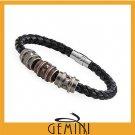 "6MM Men Women GENUINE LEATHER Gold/Black/Wheat Braided Wristband Bracelets 8.5"""