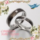 Black Diamonds Matching Wedding Engagement Bands Titanium Couple Ring Set 4/6mm