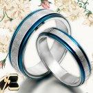 His&Her Blue Matching Wedding Titanium Rings Set 065