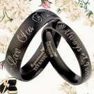 Black ANY YOUR WORDS Engrave Wedding Bands Titanium Couple Ring Set 46