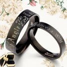 Groom Bride Black Matching Wedding Titanium Rings 045