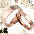 US Men Women Rose Gold Plain Wedding Flat Comfort Fit Ttianium Rings 085