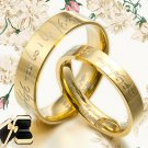 Men Women 18K Gold Plain Wedding Dome Comfort Fit Titanium Rings 057