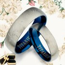 Men Women Blue Titanium Wedding Rings 090