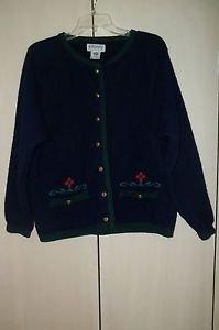 KILKENNY Woman Irish Wool Cardigan Sweater Jacket Dk Blue Small