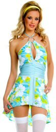 Halter Retro Print Flower Dress with Ring Buckle and Keyhole Design