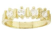 14 K Yellow Gold Created Diamond Channel Ring