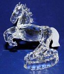 Crystal Glass Art Horse Figurine W. Flashing Light