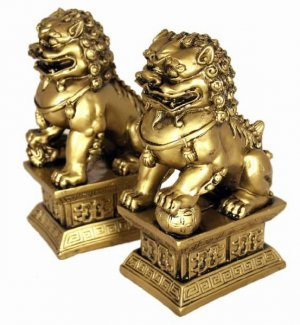 Hong Tze Collection-Brass Color Beijing Foo Dogs LG