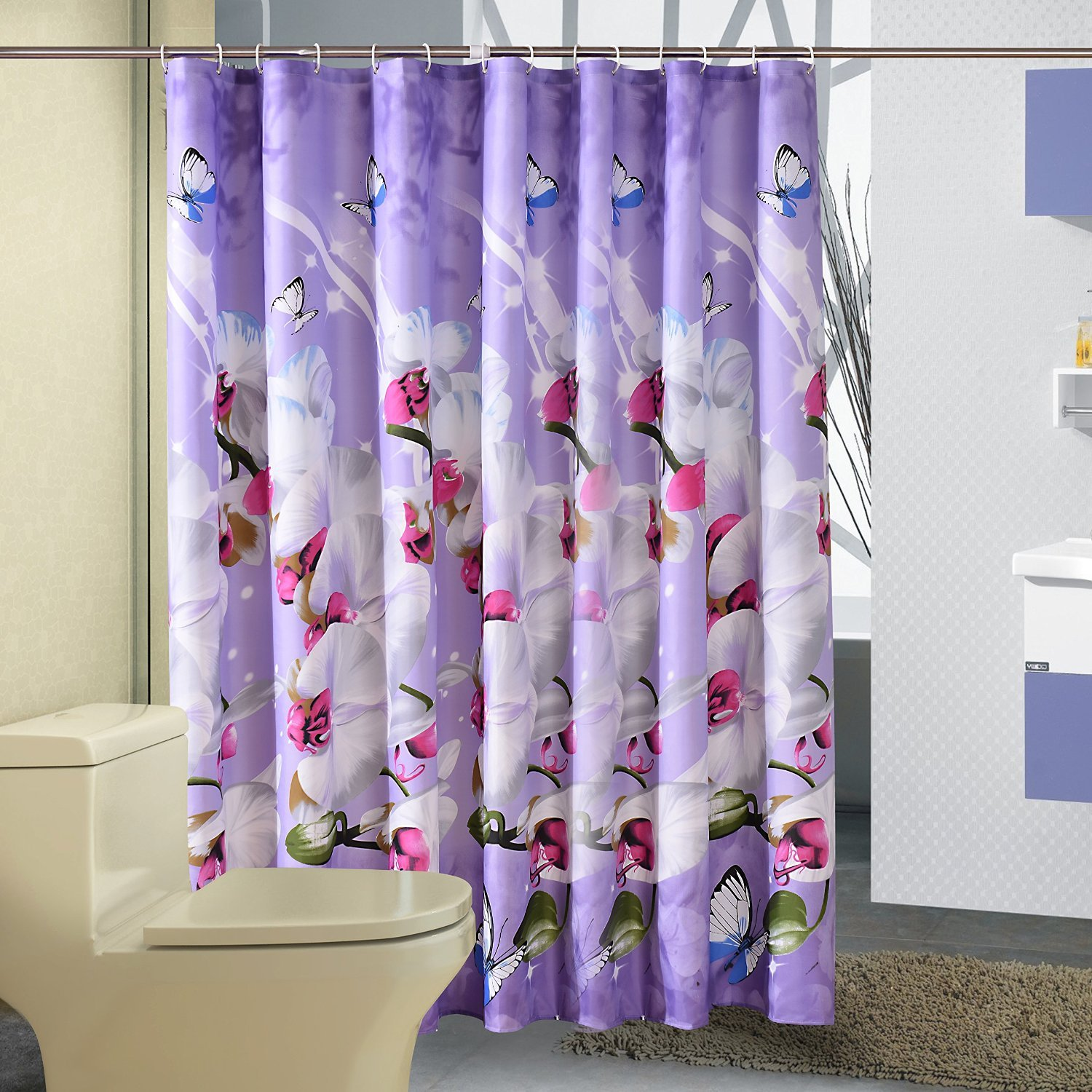 Shower Curtain W Hooks Flower And Butterfly Pattern