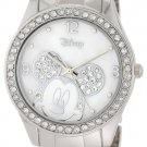 Disney Women's MK2128 Mickey Mouse Rhinestone Accent Silver-Tone Bracelet Watch
