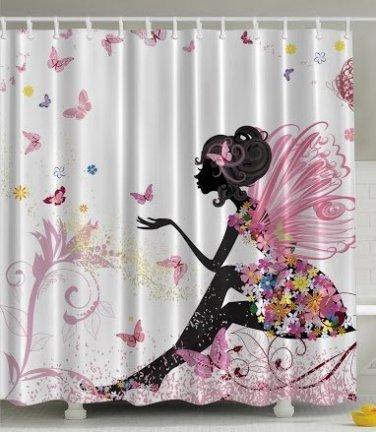 Fairy, Flowers, Butterfly Wings, Shower Curtain