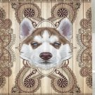 Cute Husky Puppy Portrait Fabric Shower Curtain (2 DAY SHIPPING)