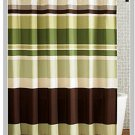 Striped Green Coffee Fabric Shower Curtain