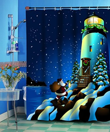 Santa's Secret Lighthouse Christmas Fabric Shower Curtain (2 DAY SHIPPING)