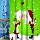 Kissing Santa Christmas Fabric Shower Curtain 70 X 72 (2 DAY SHIPPING)