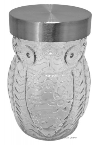 Glass Owl Shaped 42oz Large Biscotti Cookie Canister (2 DAY SHIPPING)