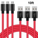 (3 PACK),10FT Braided Phone Charger for Android, Red (2 DAY SHIPPING)