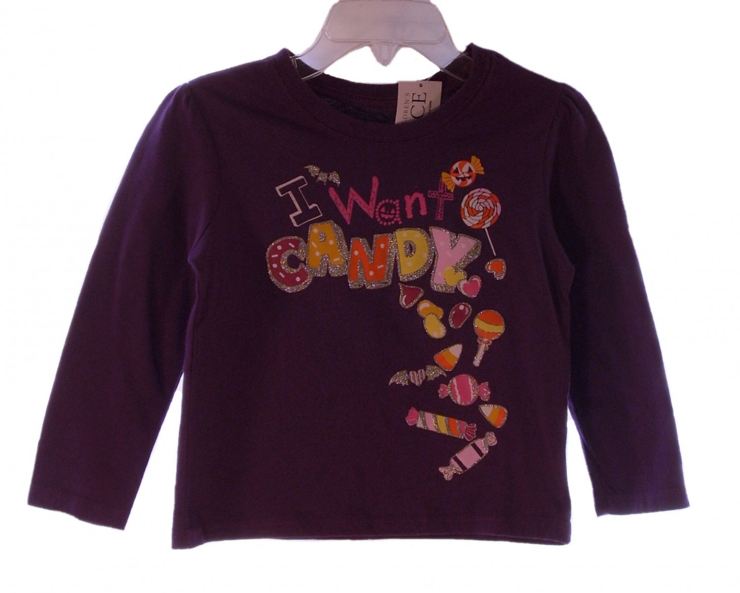 The Children's Place Toddler Girls Purple I Want Candy Long Sleeve T-Shirt 18 - 24 Months