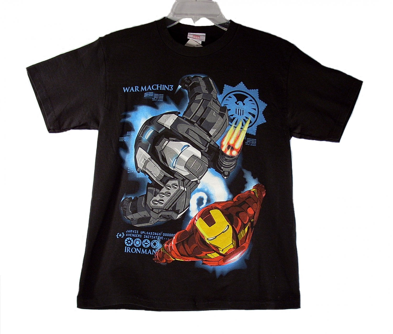 Marvel Iron Man 2 War Machine Kid Boys Black Short Sleeve T Shirt Medium