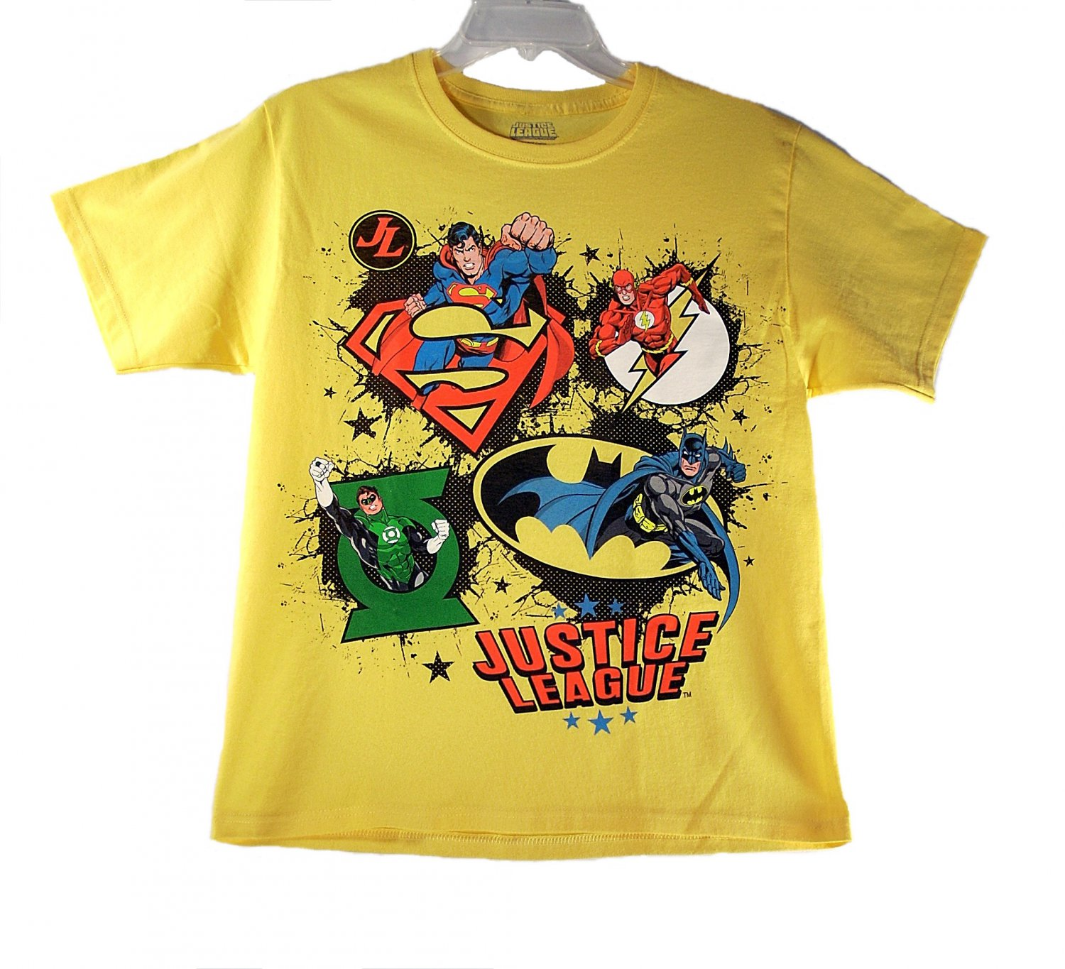 Justice League Kid Boys Yellow Short Sleeve T Shirt X-Large