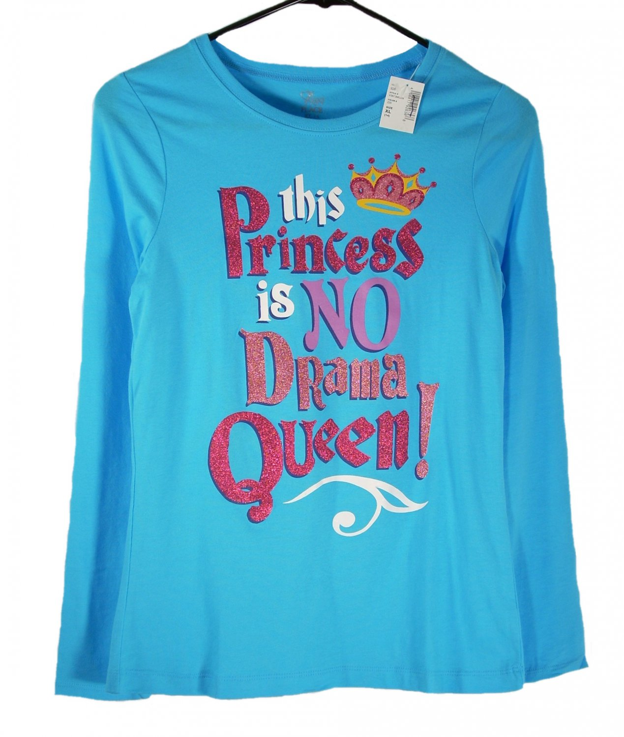 The Children's Place Kid Girls Blue This Princess Is No Drama Queen T-Shirt X-Large