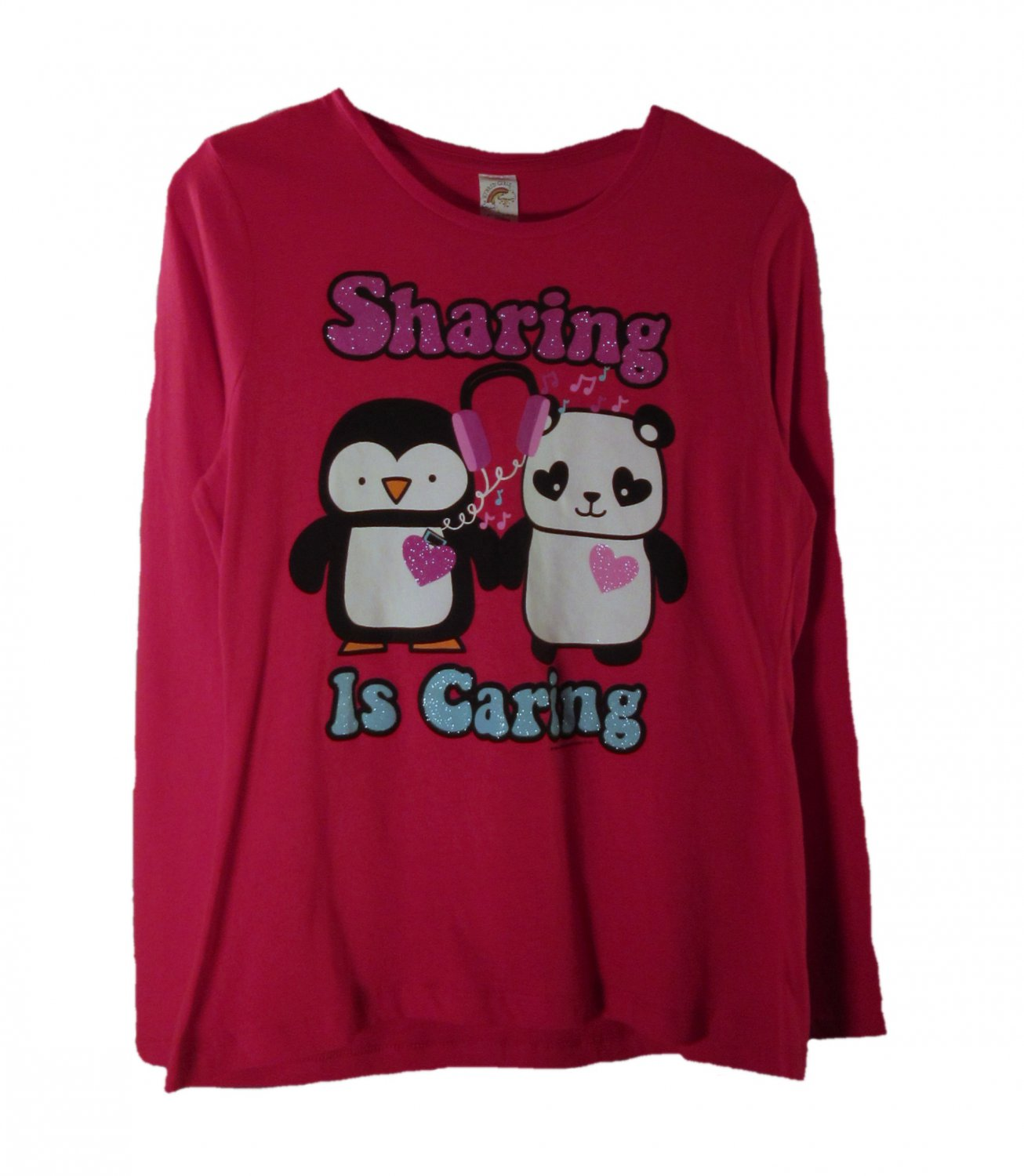 Hybrid Tees Kid Girls Red Sharing is Caring Long Sleeve T-Shirt Large Plus