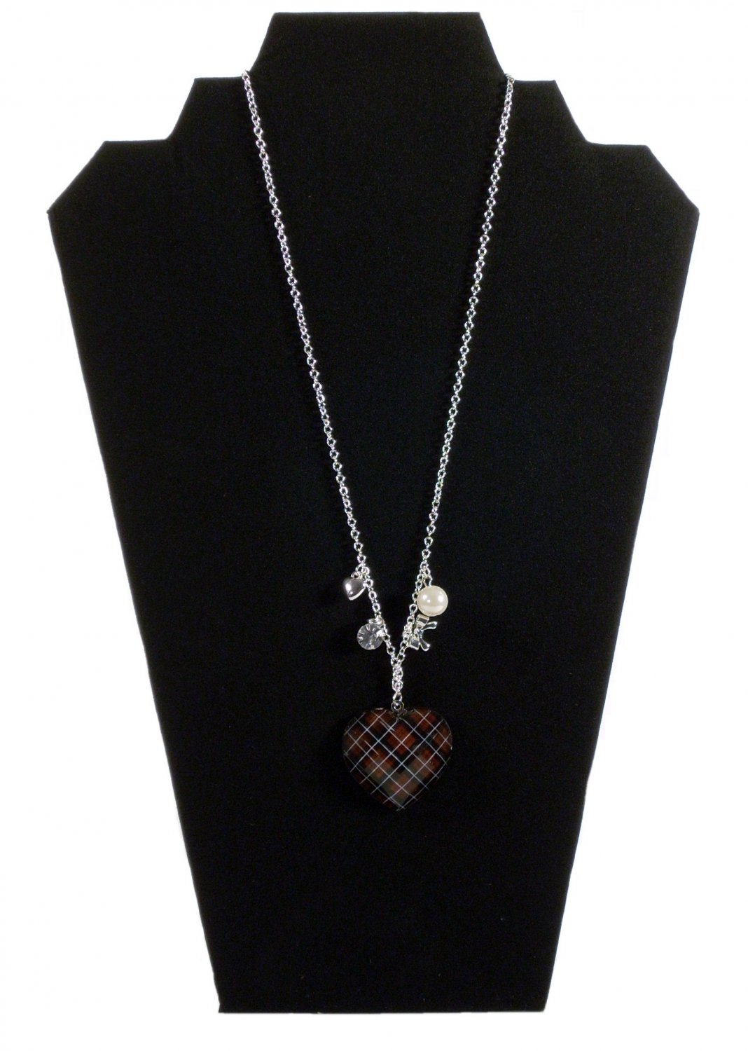The Children's Place Kids Girls Rich Red Plaid Heart Necklace
