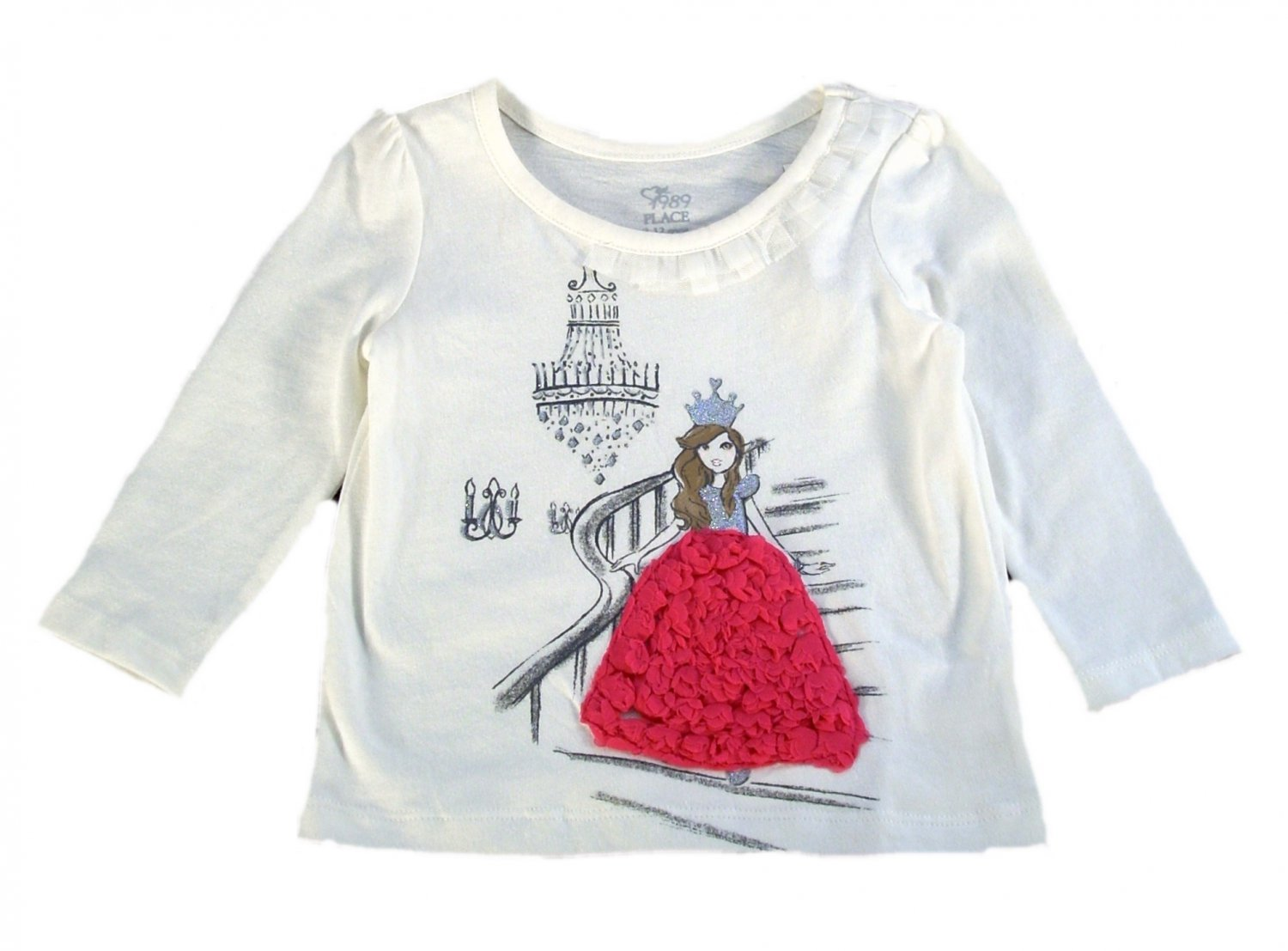 The Children's Place Infant Girls Ivory Princess Long Sleeve Top 9 - 12 Months
