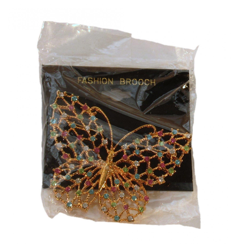 Gold Tone Rhinestone Butterfly Fashion Brooch Pin