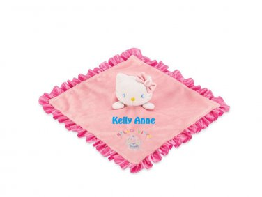 HK Kitty Baby Snuggle Lovey Blanky Security Blanket Lovey Crib toy - Free Monogram