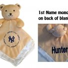 New York YANKEES MLB Comfort Security Bear Security Blanket Crib toy Lovey Free Monogram