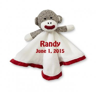 Sock Monkey Snuggle Buddy Comfort Security Bear Security Blanket Crib toy in White/Red Free Monogram