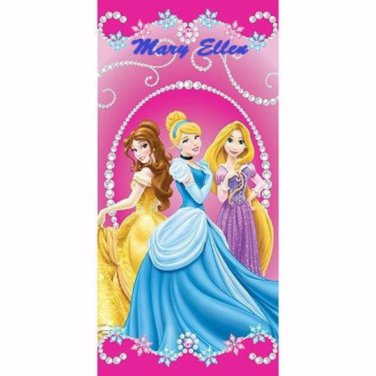 Disney Princess Jewels Beach Towel, Pink - Personalized