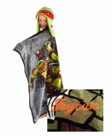 TMNT Teenage Mutant Ninja Turtles HoodiWinks Blanket Throw Helmut Hat - Personalized