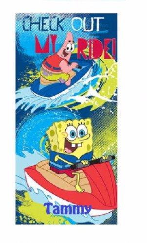 "SpongeBob ""Big Wave Ahead"" Beach Towel - Personalized"