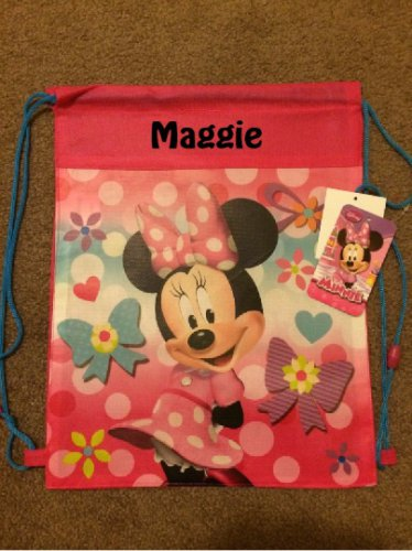 Disney MINNIE MOUSE Drawstring Backpack Sling Bag � Personalized