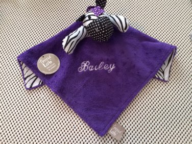 Trend Lab Grape Expectations Zebra Blanket Security Blanket Blanky - Personalized