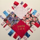 "PERSONALIZED Baby Sensory Ribbon Security Blanket Lovey with Tags 12"" X 12"" BASEBALL inspired"