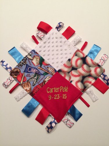 PERSONALIZED Baby Sensory Ribbon Security Blanket Lovey with Tags 12� X 12� BASEBALL inspired