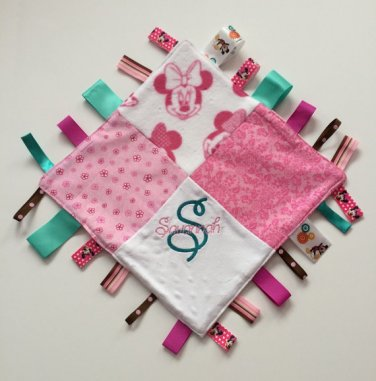 Sensory Ribbon Security Blanket Lovey with Tags 12� X 12� Minnie Mouse inspired