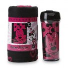 DISNEY MINNIE MOUSE TRAVEL MUG & SNUG FLEECE THROW BLANKET GIFT SET NEW IN BOX- Free Monogram