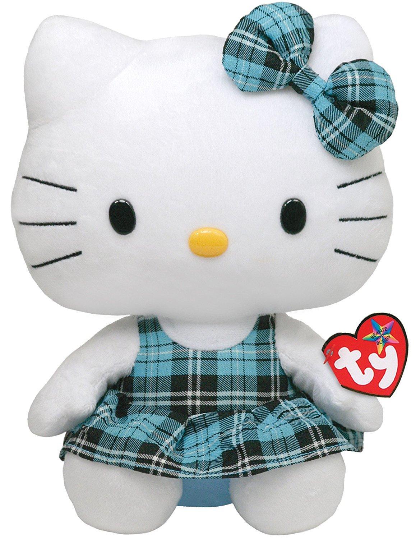Ty Beanie Buddy Hello Kitty - Aqua Tartan Plaid (Medium) 90112