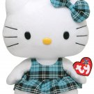 Ty Beanie Buddy Hello Kitty - Aqua Tartan Plaid (Medium) 90112