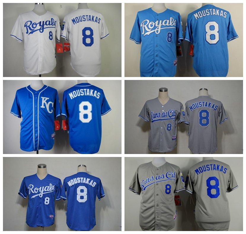Mike Moustakas Kansas City Royals #8  Replica Baseball Jersey Multiple styles
