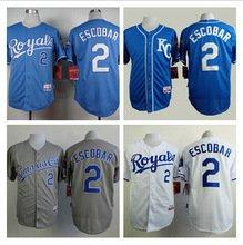 Alcides Escobar Kansas City Royals #2  Replica Baseball Jersey Multiple styles